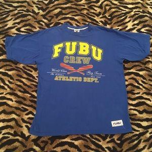 FUBU Vintage Crew Shirt Blue Yellow Size XL.